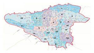 دسترسی تهران در مناطق
